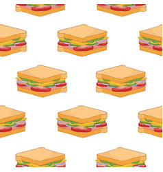 seamless pattern with delicious sandwiches on vector image