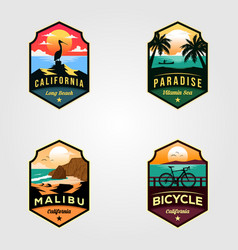 Set beach logo travel designs vector