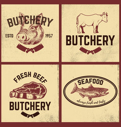 Set butchery meat store seafood posters set vector