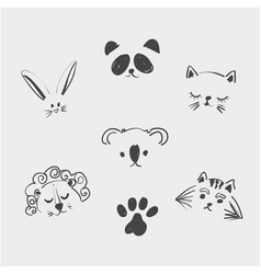set of cute animal faces for t shirt notebooks vector image