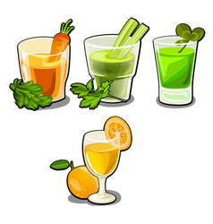 Set of glasses with fresh vegetable and fruit vector
