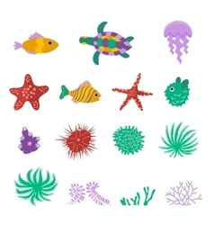 Set of sea marine fish animals plants vector