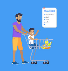 Son and father making purchases by shopping list vector