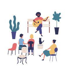 Street musician or guitarist sits on bench vector