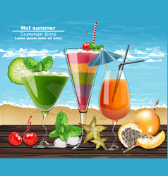Summer cocktail drinks realistic banner vector