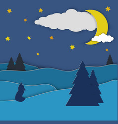 the fox sits on a hill under the night sky with vector image