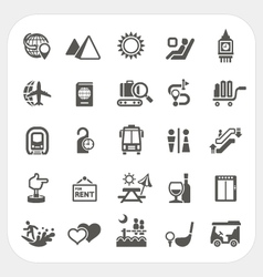 Travel and Transportation icons set vector image