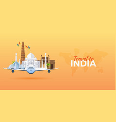 travel to india airplane with attractions travel vector image