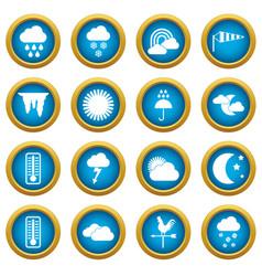weather icons blue circle set vector image