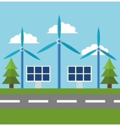 Wind mill and ecology design vector
