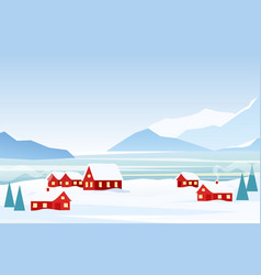 winter landscape with red vector image