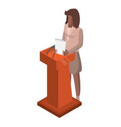woman at political debate icon isometric style vector image