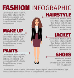 woman in purple skirt fashion infographic vector image