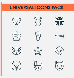 Zoology icons set collection of claw print kine vector