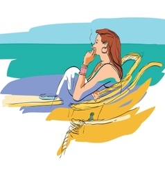 Lady smokes on the seafront vector