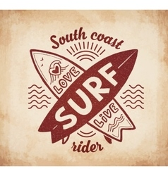 Red crossing surfing boards stamp with hand vector image