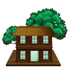 two-stories house made of wood vector image
