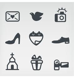Wedding icon set vector image
