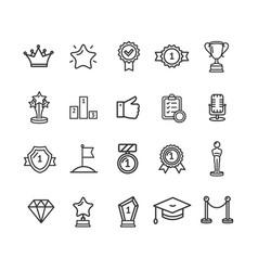award signs black thin line icon set vector image vector image