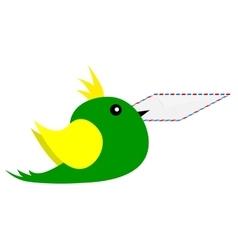 bird with an envelope in its beak vector image