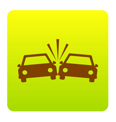 crashed cars sign brown icon at green vector image