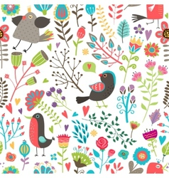 Hand-drawn birds and flowers seamless pattern vector image