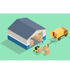 Isometric warehouse Loading and unloading from vector image