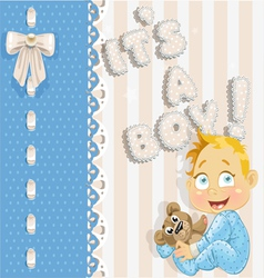 Its a boy blue lovely announcement card vector image vector image