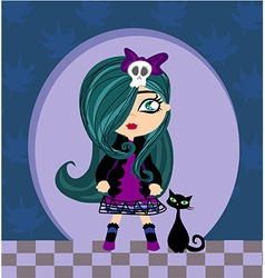 Sad emo girl and her cat vector image vector image