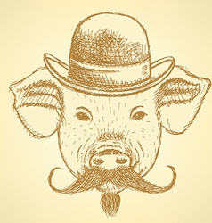 Sketch pig in hat with mustche ackground vector image