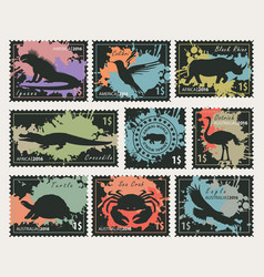 stamps on the theme of wildlife animals and birds vector image