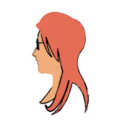 woman profile face glasses and long hair vector image