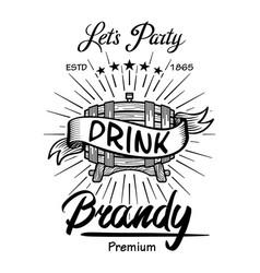 alcohol wooden barrels drinks signs brandy vector image vector image