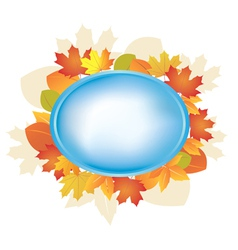 blue oval frame with autumn leaves vector image vector image