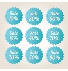 Blue sale badge stickers set vector image
