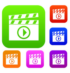 clapperboard for movie shooting set collection vector image