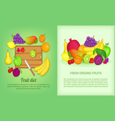 fruits banner set cartoon style vector image vector image