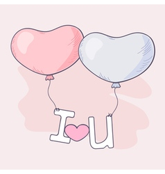 Hand drawn heart balloons holding letters vector