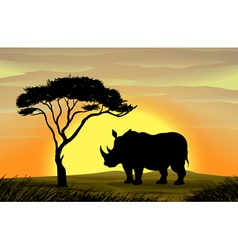 Rhinoceros under a tree vector image