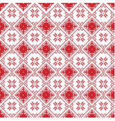 Scandinavian cross stitch pattern with snowflake vector