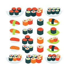 Flat Style Collection of Food Sushi Sashimi and vector image