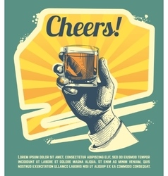 Hand with drink glass Retro party poster vector image vector image
