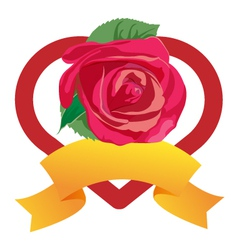 heart and rose vector image vector image