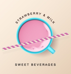 Mint cup with raspberry smoothie and cocktail vector image
