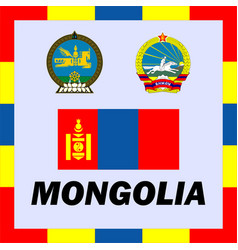 official ensigns flag and coat of arm of mongolia vector image