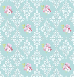 Seamless Pattern with pink flowers and damask vector image vector image
