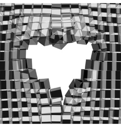 Abstract 3D background with heart cracked vector