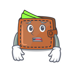 Afraid wallet mascot cartoon style vector