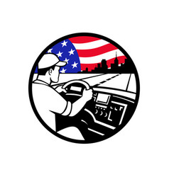 American trucker driving highway usa flag circle vector
