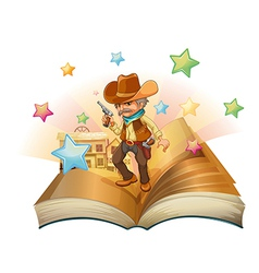 An open book with an armed cowboy vector image